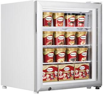 Маленький морозильный шкаф с прозрачной дверцей Tefcold UF100G