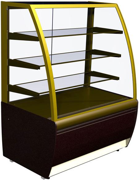 Узкая кондитерская витрина (вентилируемая) Carboma ВХСв-1,3Д Люкс