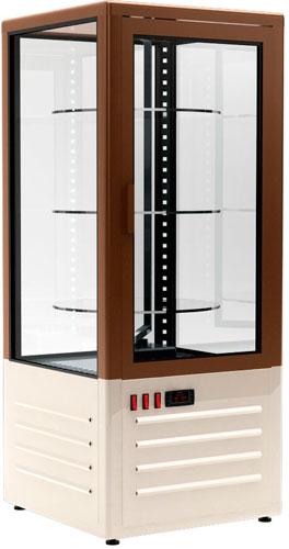 Холодильный шкаф-витрина с вращающимися полками Carboma D4 VM 120-2 brown / beige